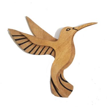 Colibri bois sculpté noir