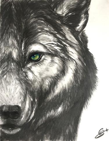 Loup au fusain